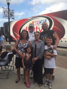 Kelly and her family in downtown Speedway